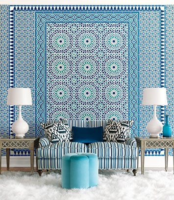 Blue patterns via Elements of Style; Schumacher paperDecor, Blue Interiors, Pattern, Moroccan Interiors, Livingroom, Colors, Living Room, Interiors Design, Moroccan Style
