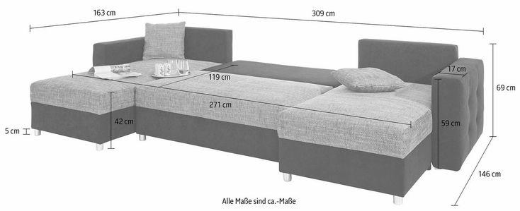 RAUM.ID Wohnlandschaft, inklusive Bettfunktion und Bettkasten ab 599,99€. Frei im Raum stellbar, Inklusive loser Zier- und Rückenkissen bei OTTO