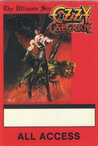 Ozzy Osbourne Backstage Pass -1986........