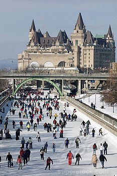 Skating on the Rideau Canal, Ottawa, Ontario. - enjoy best the canal as the longest skating rink  the world - various activites and enjoy the delicious Beaver Tail (crusty, sugary delight).