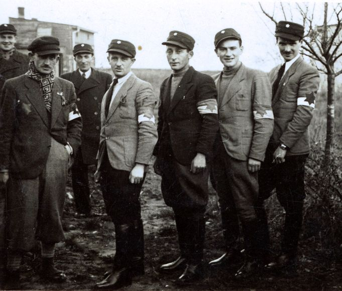 Jewish police posing for a group photo in Lodz.