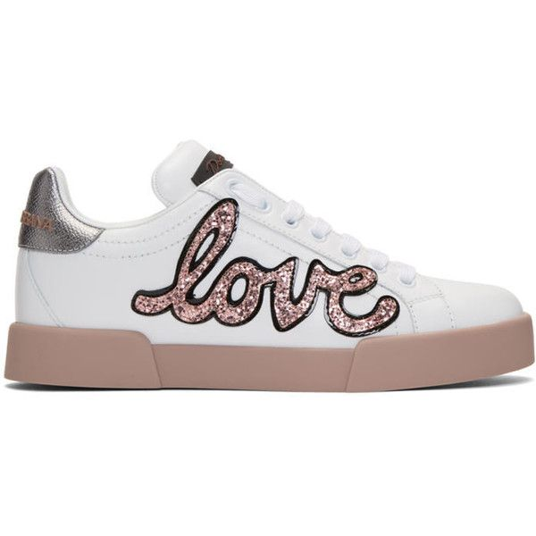 Dolce and Gabbana White and Pink Heart Patch Sneakers (1640 TND) ❤ liked on Polyvore featuring shoes, sneakers, white, low profile sneakers, dolce gabbana sneakers, sequin sneakers, leather shoes and colorful sneakers