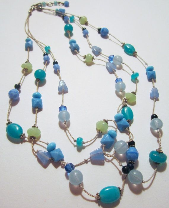 Vintage 3 Strand Beaded Necklace jewelry Baby by NewUsedVintage, $17.00