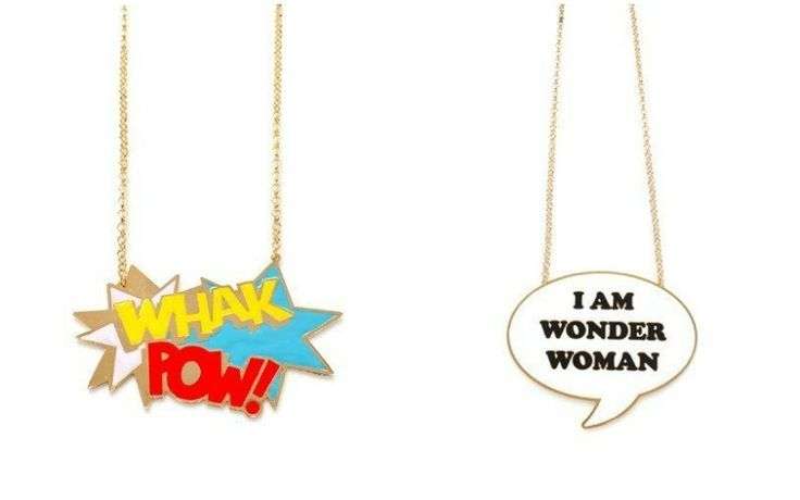 Awesome necklaces from the Noir NYC Jewelry- DC Comics collaboration. We NEED that Wonder Woman one!
