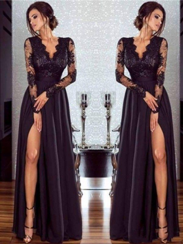 A Line Black V Neck Floor Length Chiffon Applique Prom Dresses Long Sleeve Chiffon Dress Black Lace Evening Dress Prom Dresses Long With Sleeves