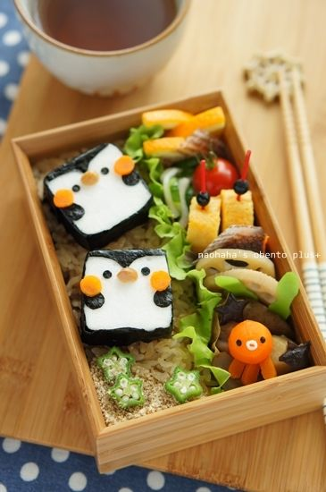 square penguin bento