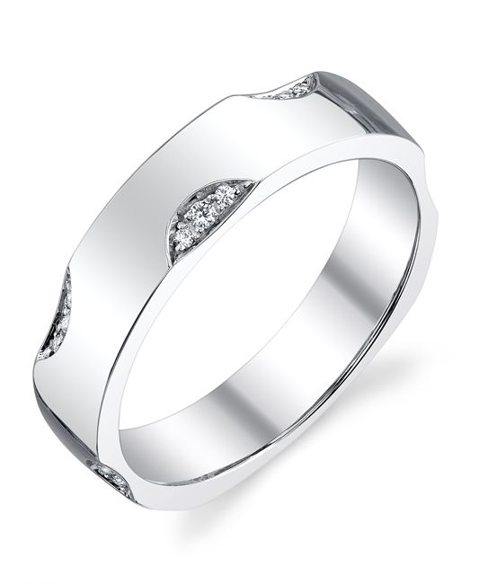 High polish white gold and Diamonds sets this Mark Schneider Men's Wedding Band apart from all the rest.