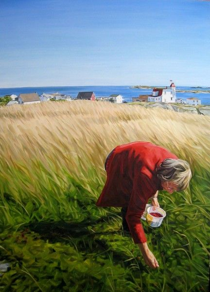 """The Berry Picker, Greenspond"" by Heather Horton : In the autumn in Newfoundland, you will see people off in fields, at the sides of roads, or on a hillside, picking berries. Cloud berries, partridge berries, blue berries…all of these are made into jam and preserves and remind me of Newfoundland. Milly Bragg was one such berry picker, and she posed for me on this hillside in the beautiful little village of Greenspond."