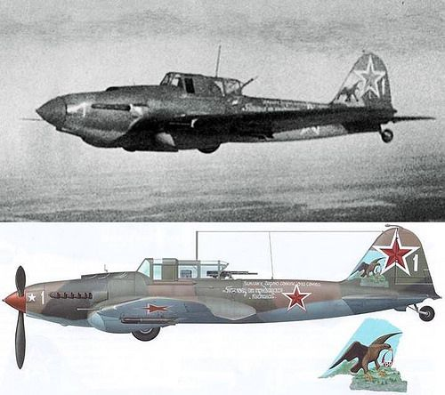 Ivan Fomich PAVLOV of the 6th GvShAP (Guards' Strike Air Regiment) in flight in early 1945 with his Il-2-AM-38F Ilyushin IL-2 Shturmovik (1939) - armored ground attack aircraft as essential to the victory over Nazi as T-34 tank. Il-2 featured revolutionary design with an armoured shell protecting crew, engine, radiators, and the fuel tank. The armoured shell weighed only about 15% of the aircraft's gross weight. The armor was designed as a load-bearing part of the plane thus saving…