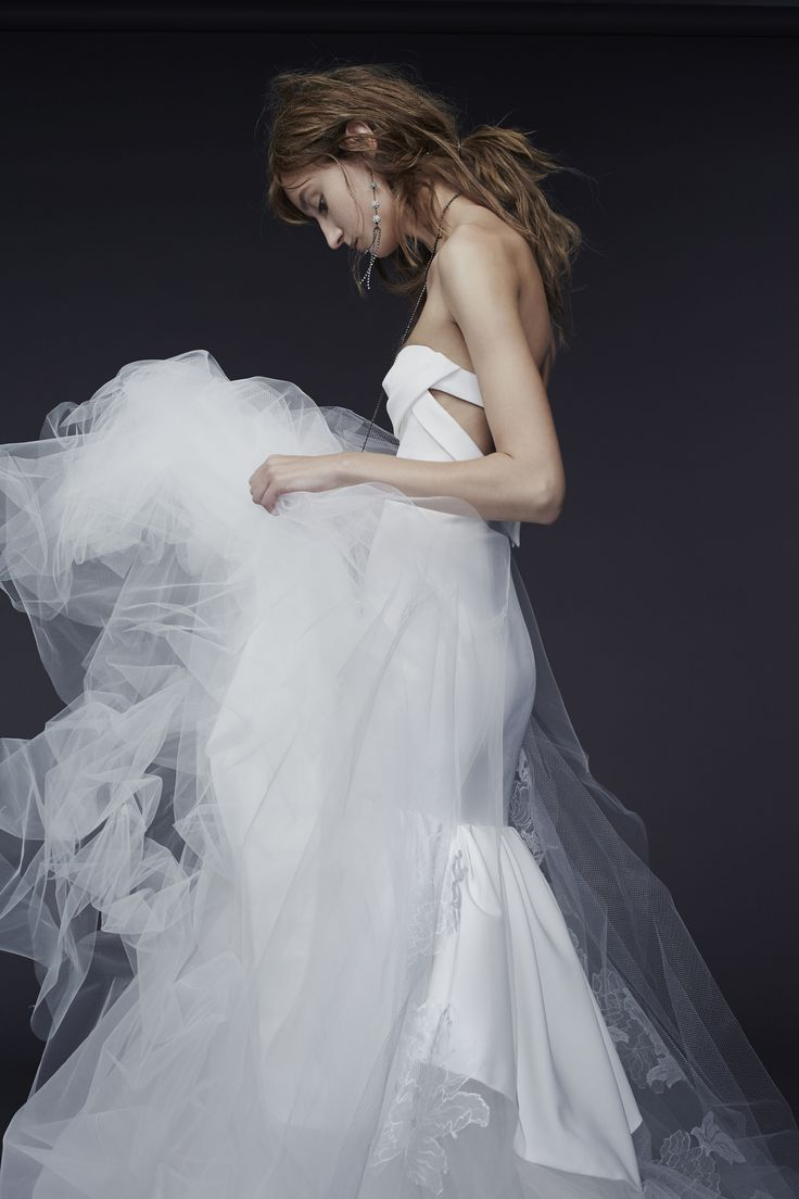 LOOK 11. Light ivory strapless silk crepe mermaid with architectural drape and hand appliqué chantilly lace at train