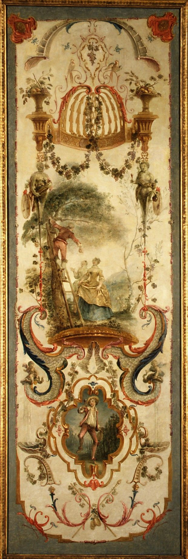 September and October  (decorative panels)    Follower of Antoine Watteau  (French, Valenciennes 1684–1721 Nogent-sur-Marne)    second quarter 18th century    Oil on panel Frame, wood