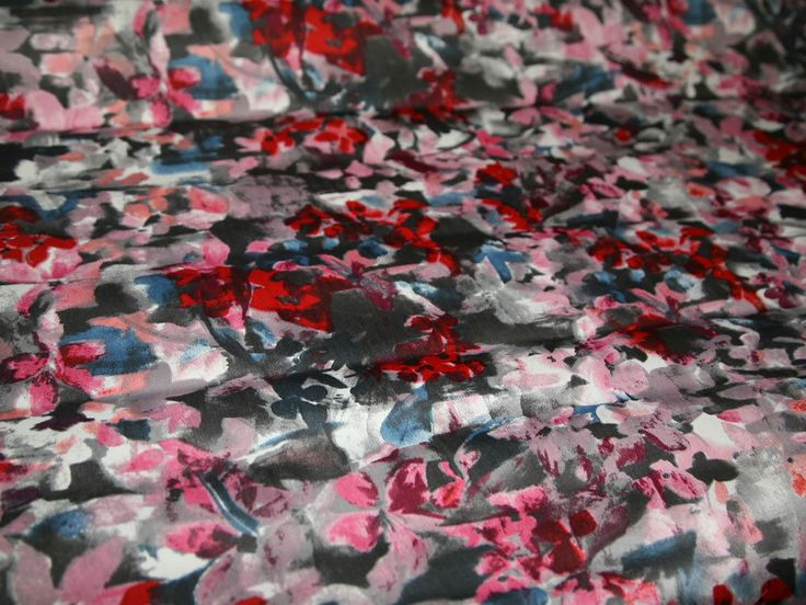 Red/Pink Floral Print Sateen Stretch Cotton Designer Dress Fabric - per metre