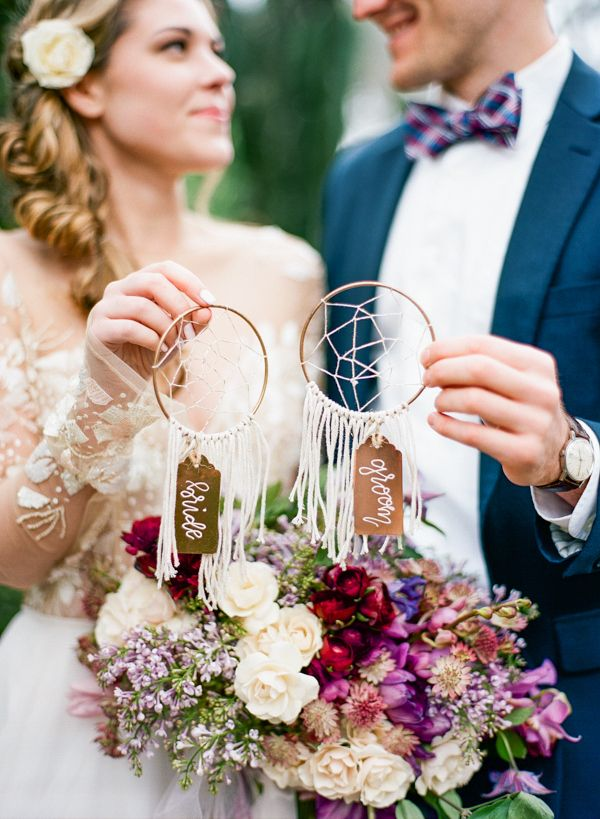 Bride and Groom Dream Catcher Escort Cards | Emily Katharine Photography | http://heyweddinglady.com/whimsical-modern-garden-wedding-copper-purple/
