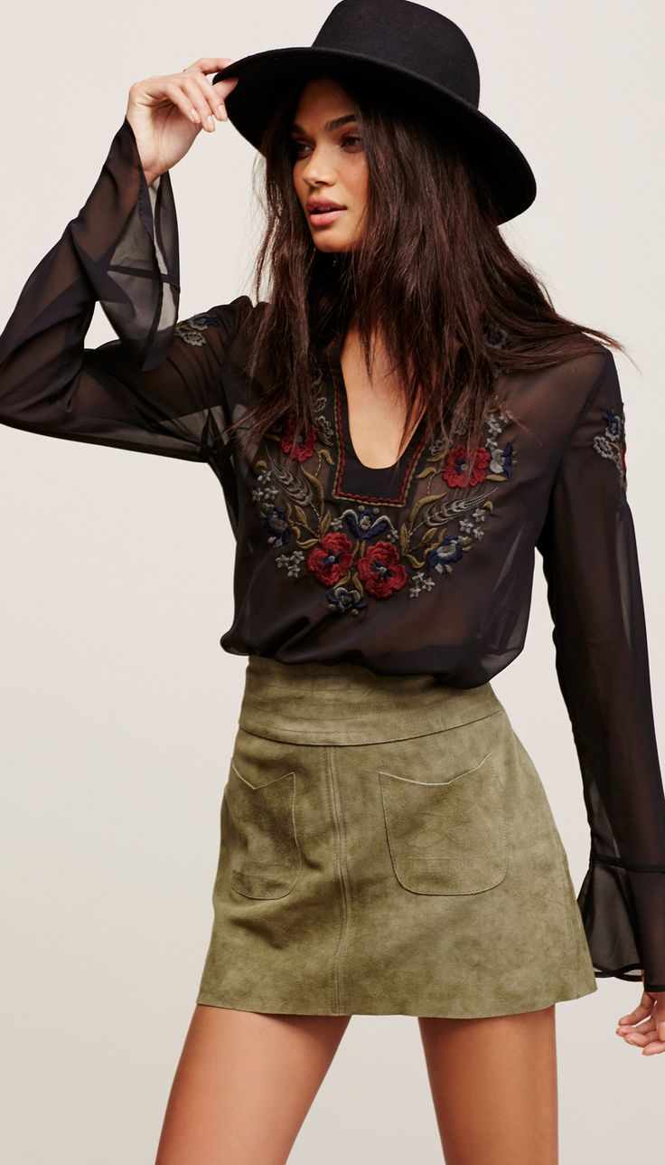 Free People Mad Love Suede Mini Skirt