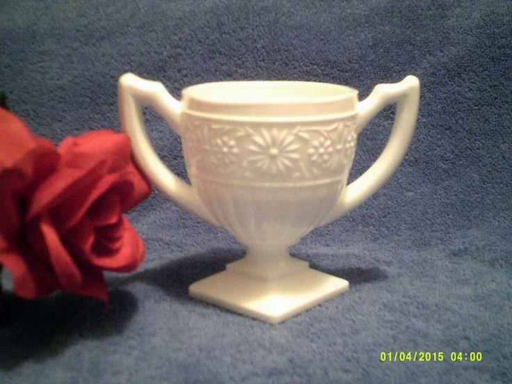 Milk Glass Trophy / Urn Planter - EUC - Floral pattern