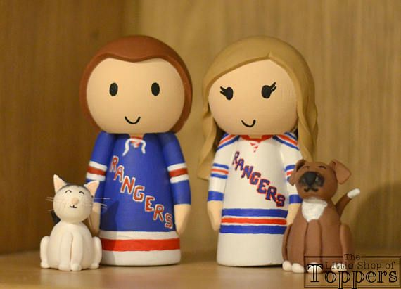 New York Rangers Ice Hockey Wedding Cat Topper With Pet Cat
