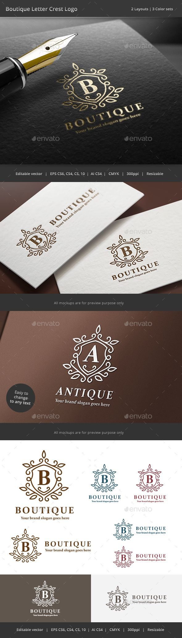 Boutique Letter Crest Logo Template Vector EPS, AI #logotype Download: http://graphicriver.net/item/boutique-letter-crest-logo/14204302?ref=ksioks