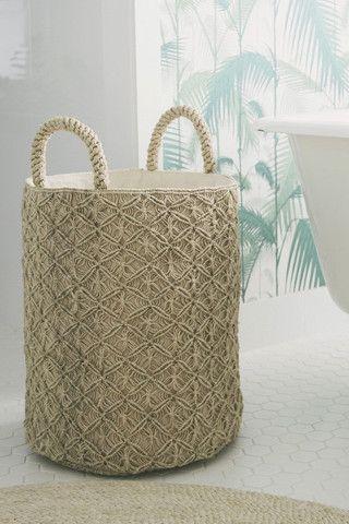 The Dharma Door Macrame Laundry Basket - Reef Knots Natural