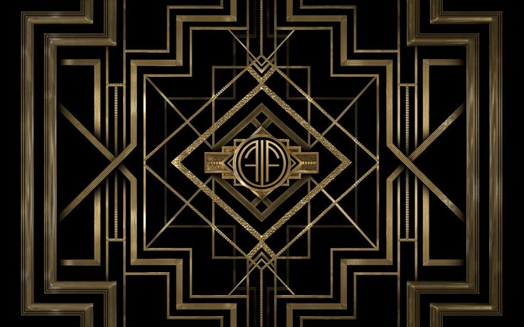 Art deco black and gold. Customize your own The Great Gatsby wallpaper at http://apps.warnerbros.com/greatgatsby/monogramcreator/us/.