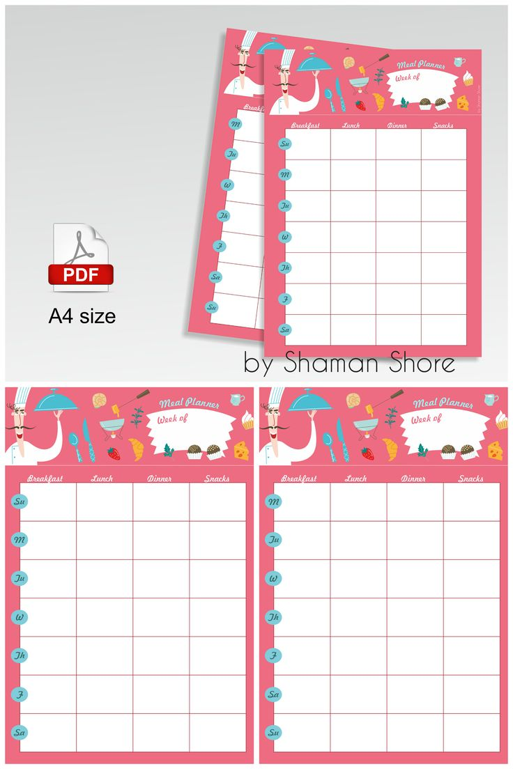 Pink Meal Plan Printable Calendar, Color Meal Planner Weekly Sheet, Menu Planner Weekly Printable, Meal Plan A4 Pdf Digital Download, Planificador de comidas imprimible