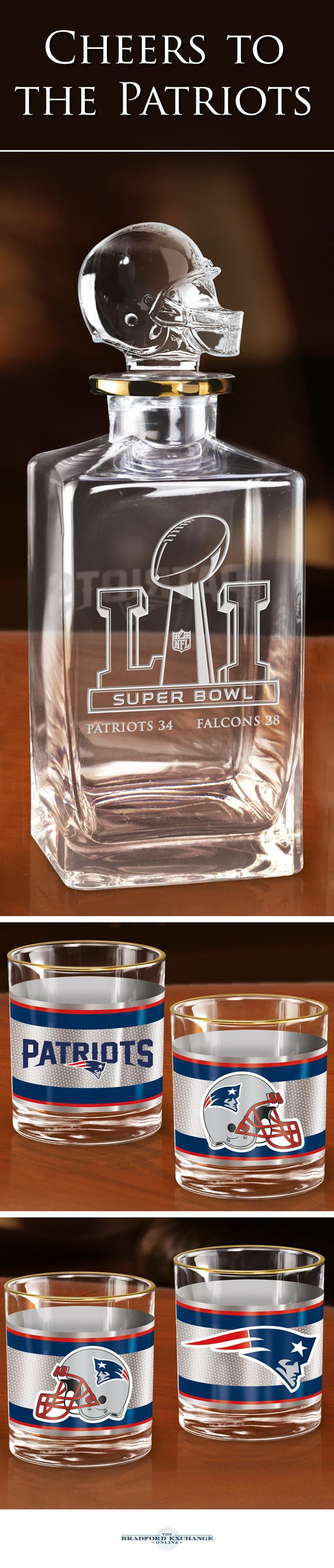 Raise a toast to your Super Bowl LI Champions with this New England Patriots decanter set. This officially-licensed NFL barware set includes a crystal-clear decanter with a custom helmet topper and Super Bowl LI logo, 4 team icon glasses rimmed in gleaming 12K gold and a satin-lined gift box.