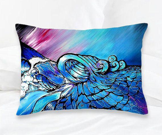 Throw #Pillow, Decorative Sofa Cushion, Soft Furnishings, Unique Home  Decor, Bold Colors, Bright Colors, Blue, Intense, Vibrant, Ocean Art,Waves,  Magical, ...