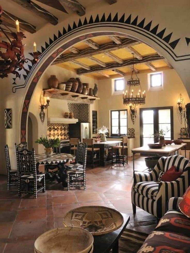 southwestern style homes kitchen room with archway and decorative with Southwestern style homes Bring Southwestern Style Homes into Your Decoration