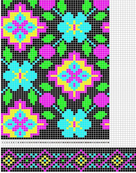 Lovely tapestry crochet pattern, but quite a few colors to carry.