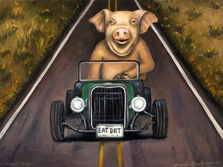 Road Hog Painting by Leah Saulnier The Painting Maniac - Road Hog Fine Art Prints and Posters for Sale