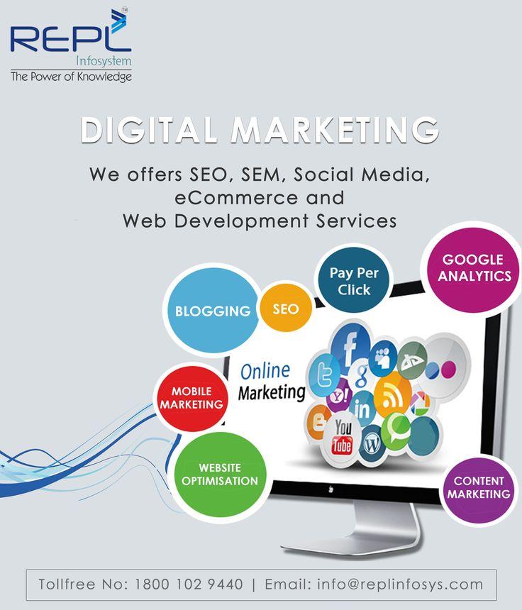 Digital Marketing Services - We Offers SEO, SEM, Social Media, website Design, Web Development Services in India. http://www.replinfosys.com/digital-marketing.aspx
