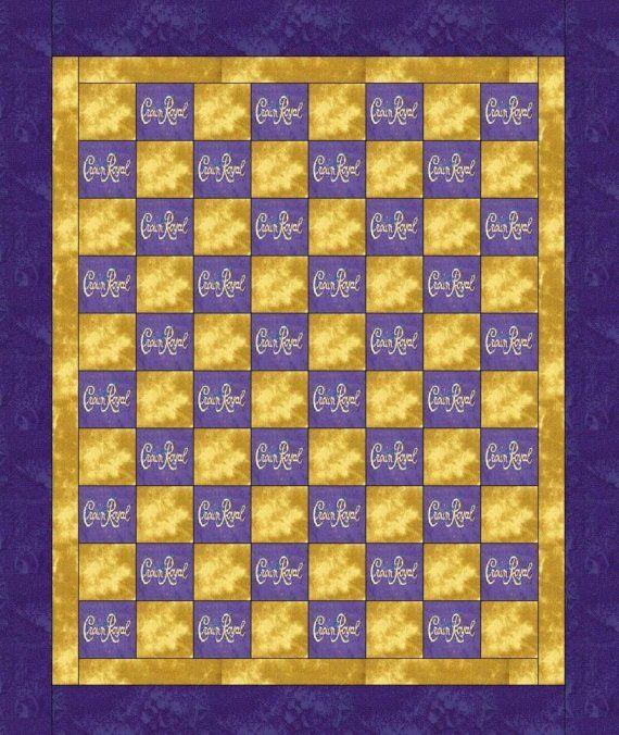 Crown Royal Blanket Pattern | Items similar to Crown Royal Quilt/blanket Made with crown royal bags ...