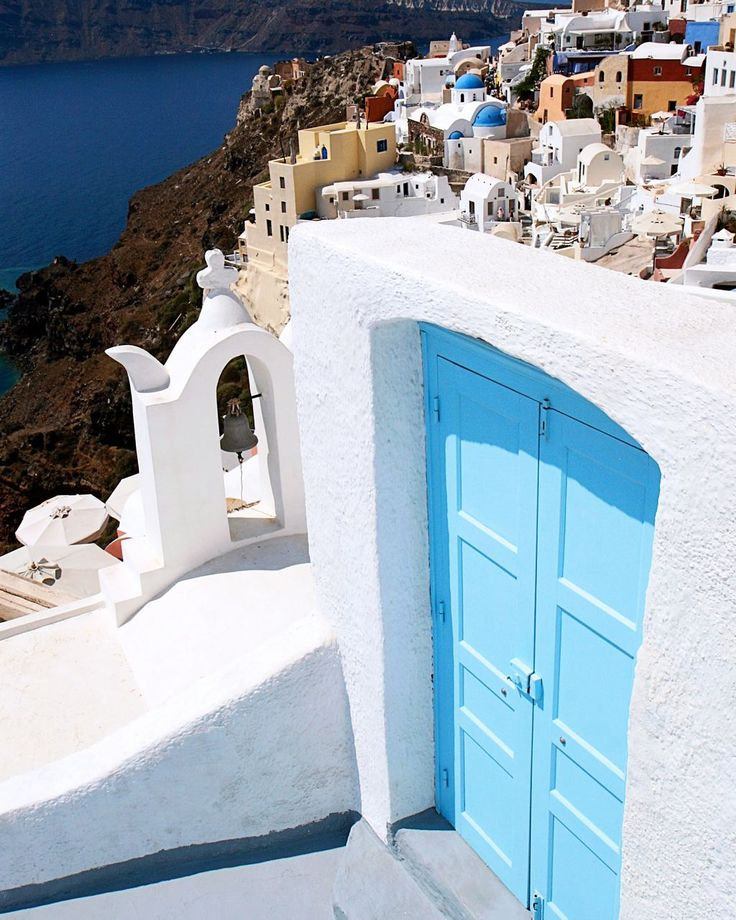 Turquoise Door - Santorini Greece Photo - Blue Door Print - Greek Art - Blue Domes White Churches - Travel Photography - Mediterranean Decor. $30.00, via Etsy.