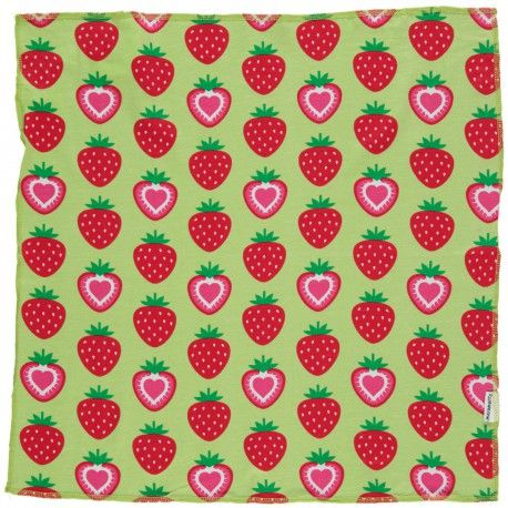 Square Scarf, strawberries green, Maxomorra