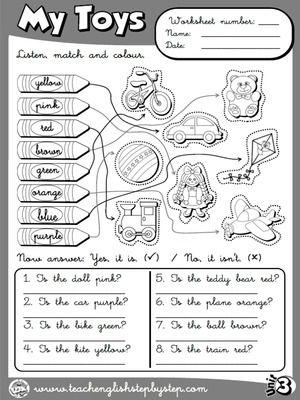 My Toys - Worksheet 7 (B&W version)