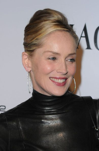 Actress Sharon Stone highlights her jawline with an elegant french twist. With subtle low-lights and a classic side part, it's the perfect style for the sexy star!