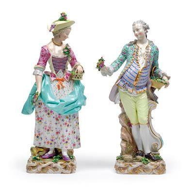 A large pair of figures, a gardener and lady gardener, porcelain. H 49.5, 51 cm, some restoration, Meissen, underglaze blue sword mark, 1st half of 19th cent., model no. 2868, B 65, former no. 62, 63. Wien, Dorotheum, 22.04.15, no. 906.