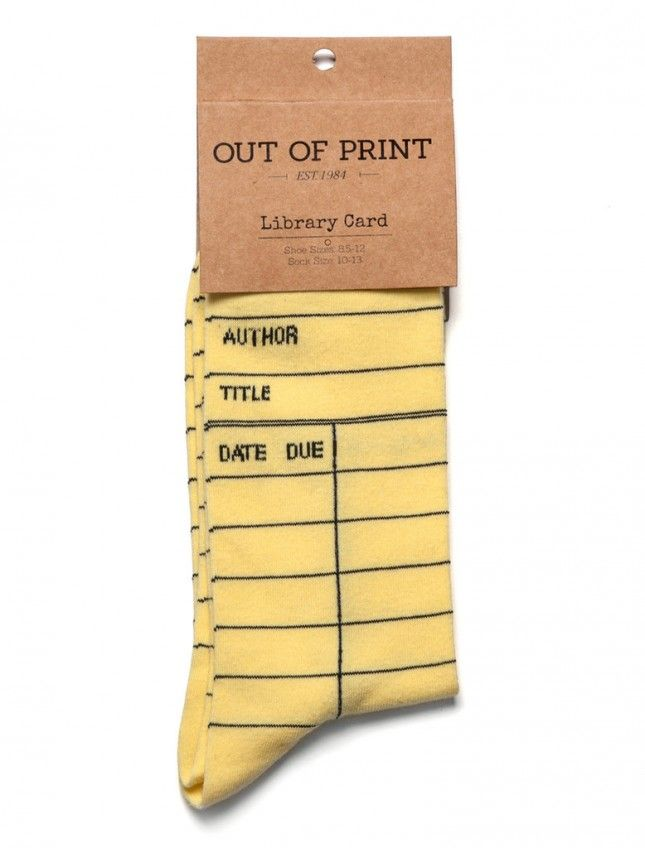 """Vintage library """"due date"""" card socks 35 Geeky Stocking Stuffers Under $15 via Brit + Co."""