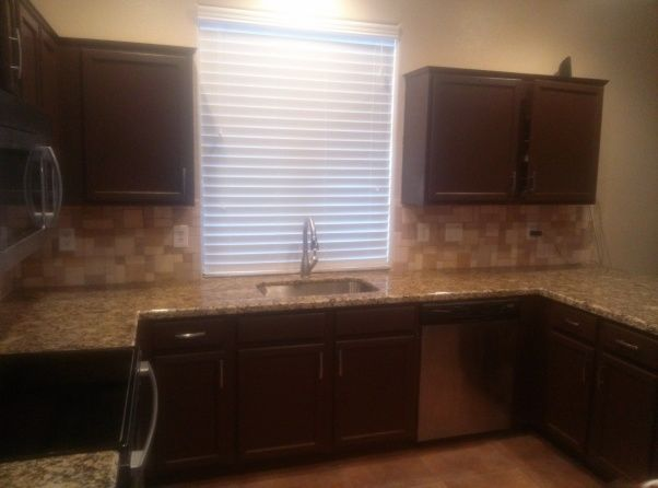 ... Cabinets At A Dip And Strip Furniture Store, Used Cabinet Restorations  In Chocolate To Update Cabinets, Granite Countertops Are Called Giallo  Portofino, ...