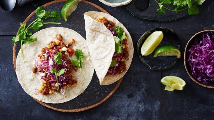 Smoky black eye pea and corn tacos