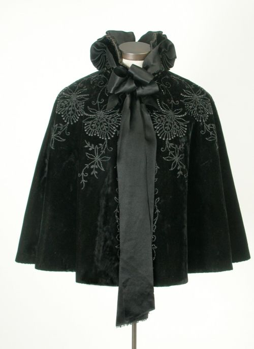 ~Lovely, lovely cape. 1895-1900~  #1890s  #outerwear  #black