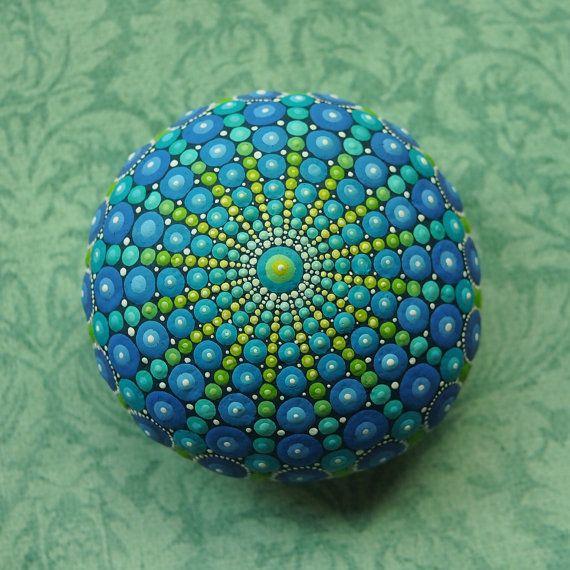 Jewel Drop Mandala Painted Stone- sacred geometry design- hand painted by Elspeth McLean