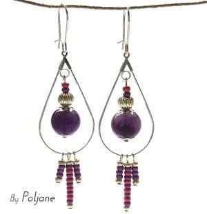 Boucles d'oreilles améthyste violet goutte d'eau argentée breloque perles rose et parme ♦ boucles d'oreilles pierre fine