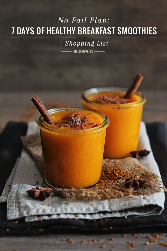 Use this plan to map out 7 days of healthy smoothies for breakfast and have a different smoothie every day! Also includes shopping list.