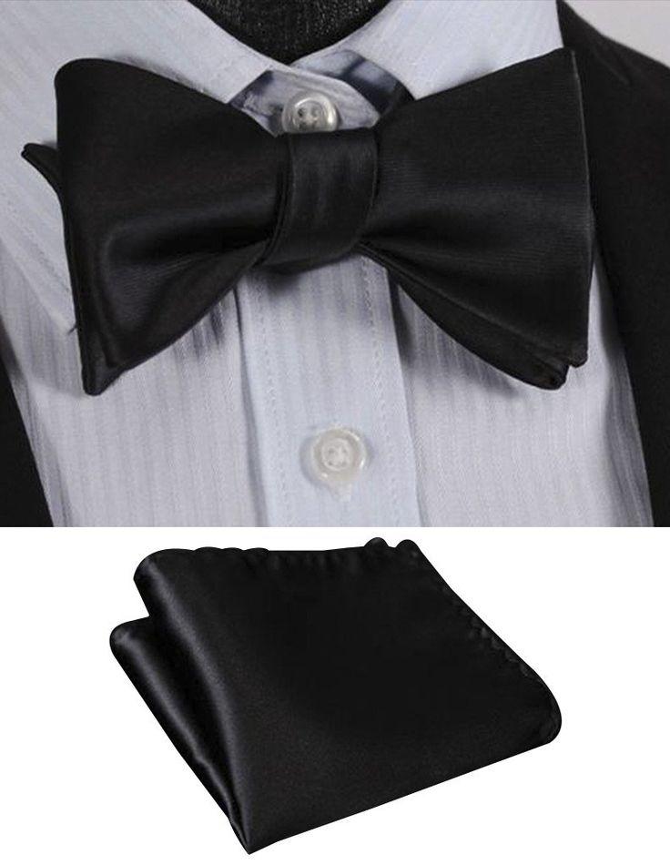 100% Black Silk Self Tie Bow Tie   Pocket Square (Optional)