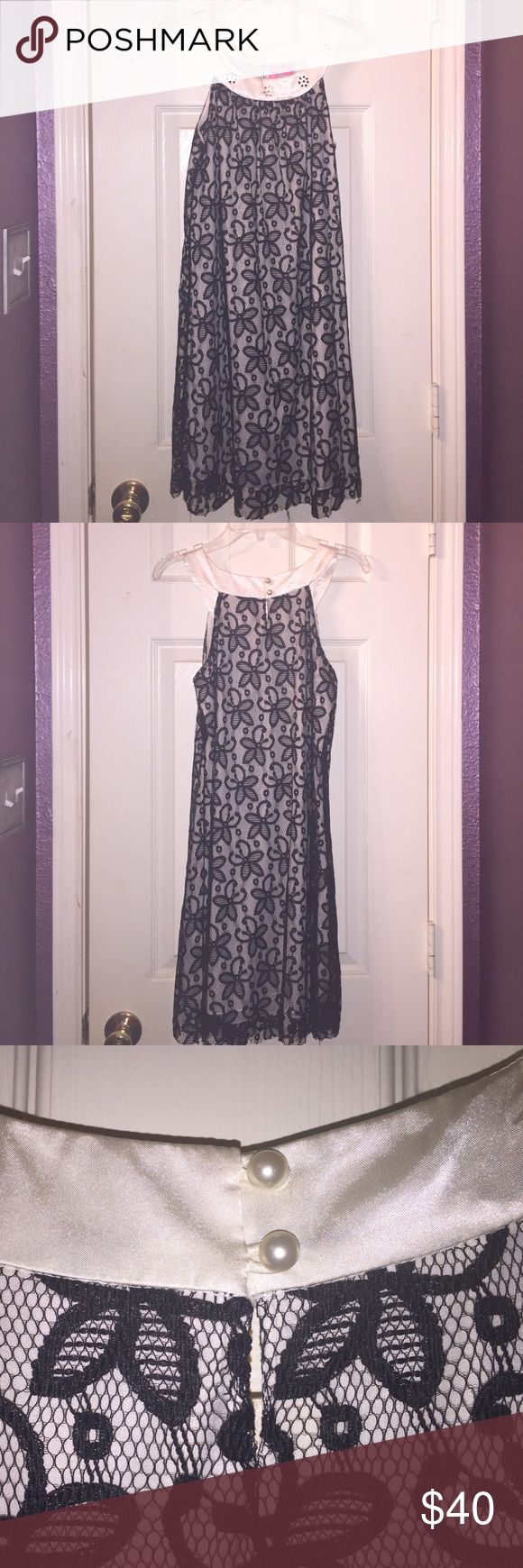 Speechless Nordstrom girls party/church dress Beautiful ivory and black Lace dress with crystal Embellished scoop neck. Pearl buttons in the back. like new. Worn once. Hype Dresses Formal