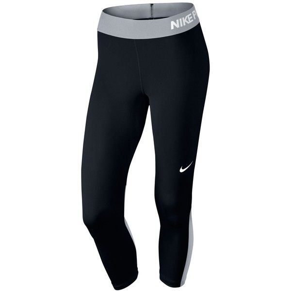 Nike Pro Cool Capri Leggings ($32) ❤ liked on Polyvore featuring pants, leggings, blue capri leggings, nike, blue trousers, blue leggings and form fitting pants