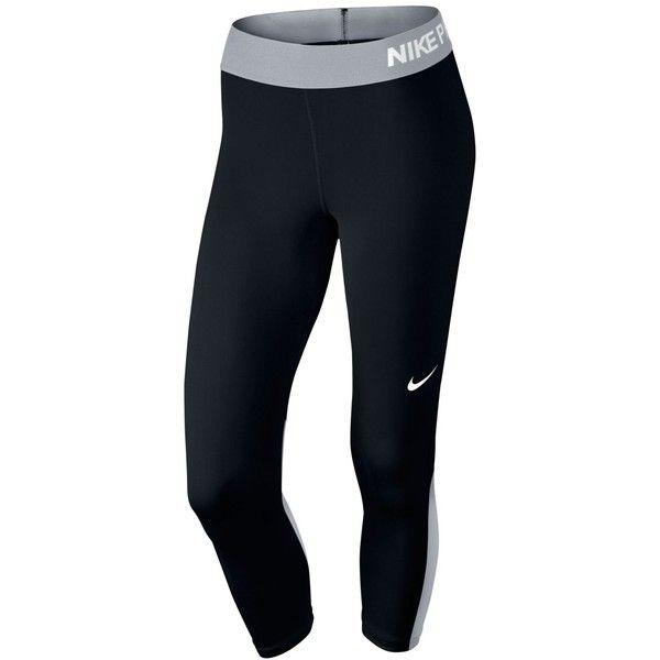 Nike Pro Cool Capri Leggings ($42) ❤ liked on Polyvore featuring pants, leggings, form fitting pants, blue capri leggings, nike trousers, nike pants and nike leggings