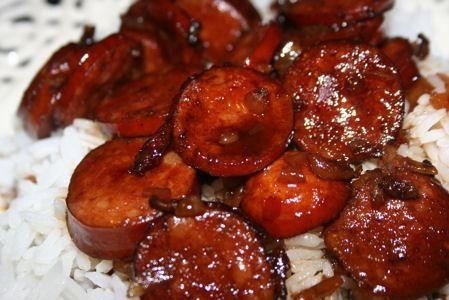kielbasa with balsamic brown sugar sauce...a favorite