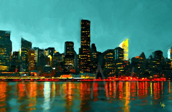 New York city New York skyline painting NYC painting. by VyaArt