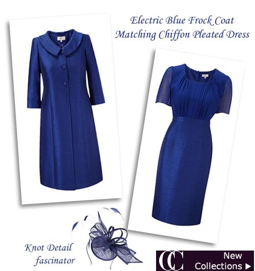 Bright Royal Blue Silk Dress Coats Ladies Winter Wedding Outfits : Occasion Outfits